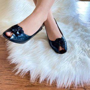 Vintage Salvatore Ferragamo Black Leather Peep Toe